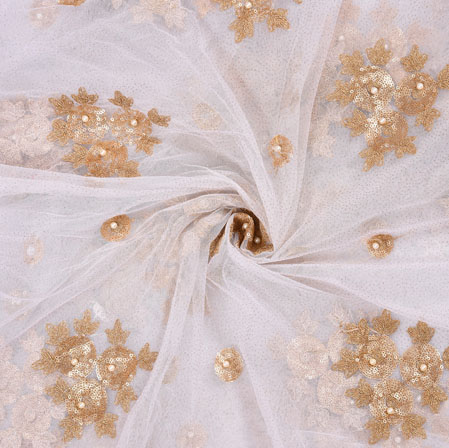 White Golden Floral Net Embroidery Fabric-19114