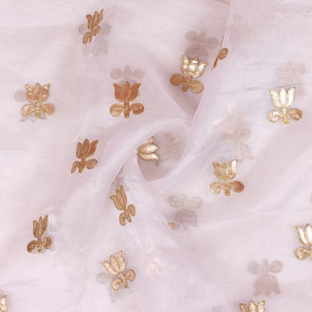 White Golden Flower Embroidery Organza Silk Fabric-51702
