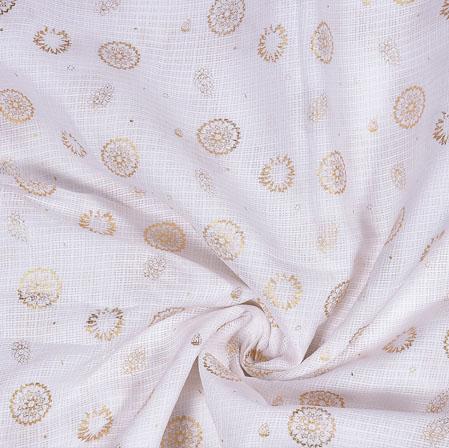 White Golden Flower Foil Work Kota Doria Fabric-42585