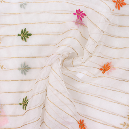 White-Golden-Orange Flower Organza Embroidery Fabric-51411