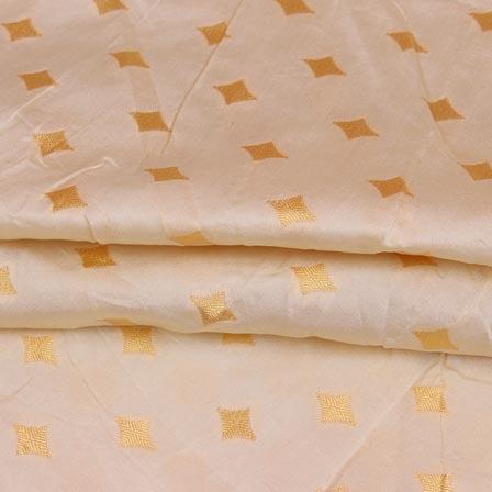 White Golden Star Brocade Silk Fabric-9235