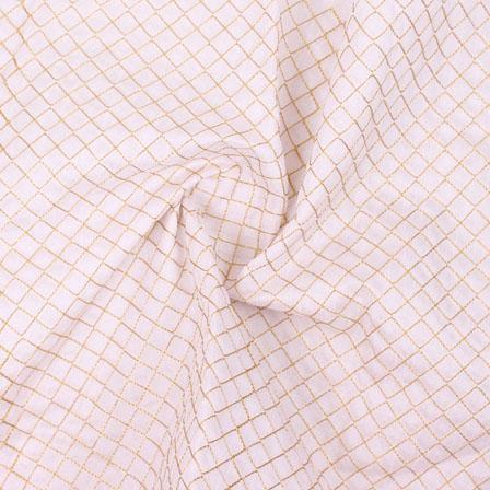 White Golden Zari Silk Fabric-9076