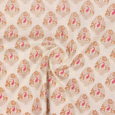 White Golden and Pink Block Print Rayon Fabric-14905