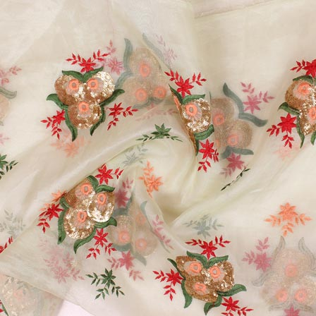 White Golden and Pink Floral Embroidery Organza Silk Fabric-51687