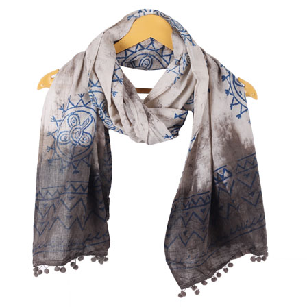 White Gray Batik Cotton Block Print Dupatta With Pom Pom-33100