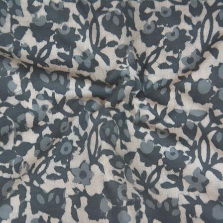 White Gray Block Print Cotton Fabric-14789