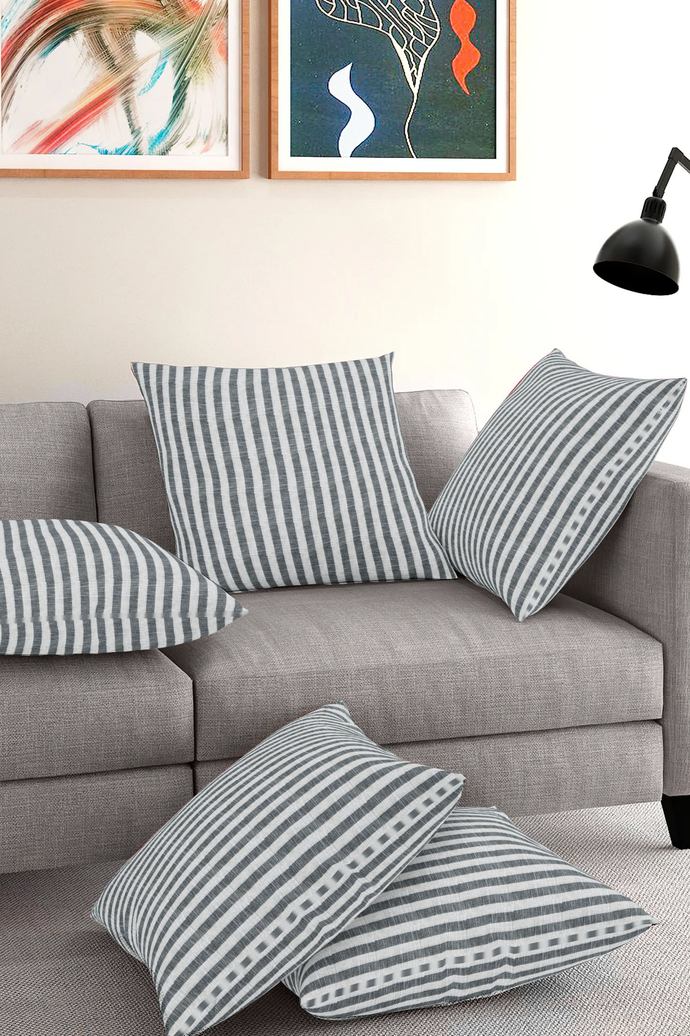 Set of 5-White Gray Cotton Cushion Cover-35407-16x16 Inches
