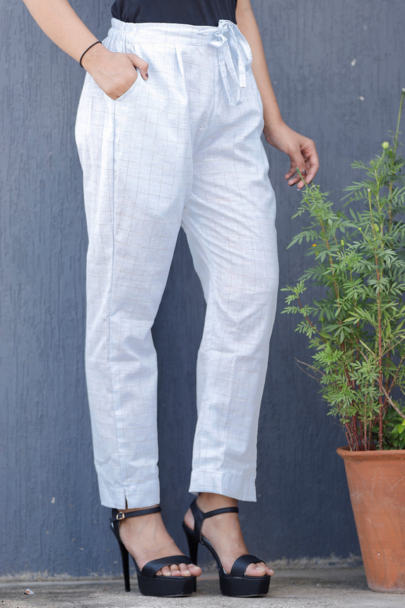 White Gray Cotton Checks Pant with Belt-34066