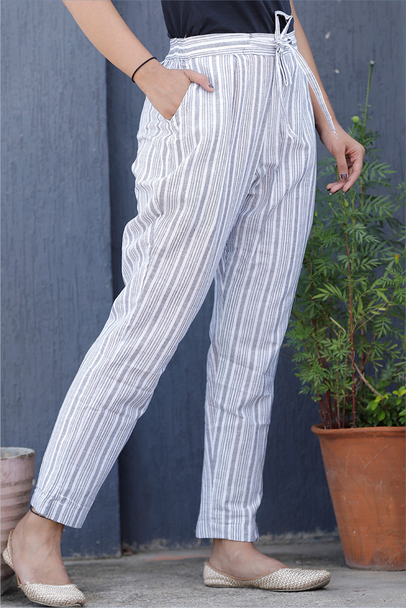 White Gray Cotton Stripe Pant with Belt-34064