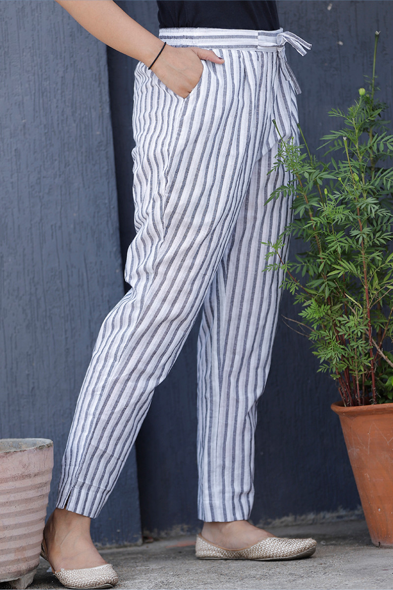 White Gray Cotton Stripe Pant with Belt-34065