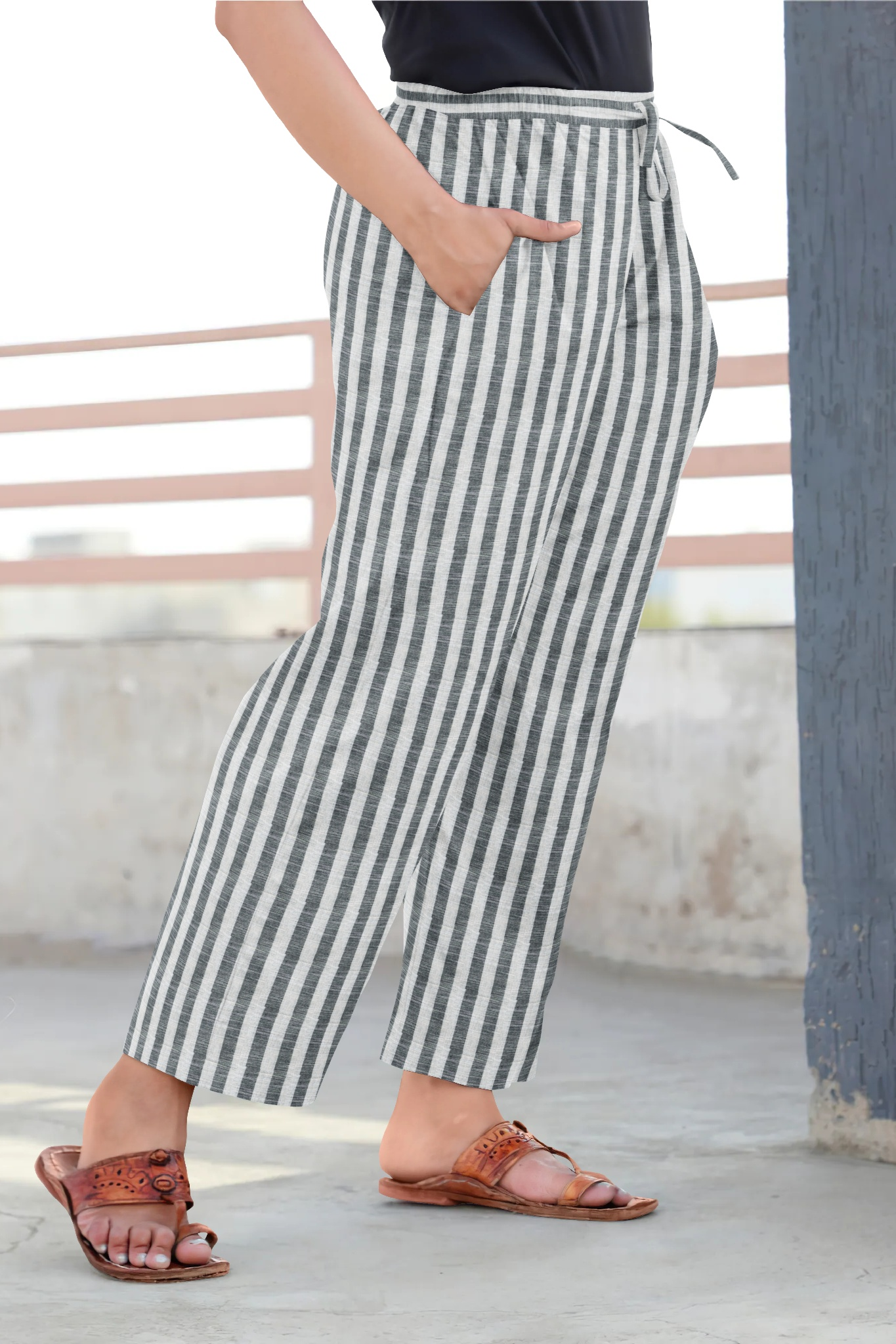 White Gray Cotton Regular Stripe Pant-35341