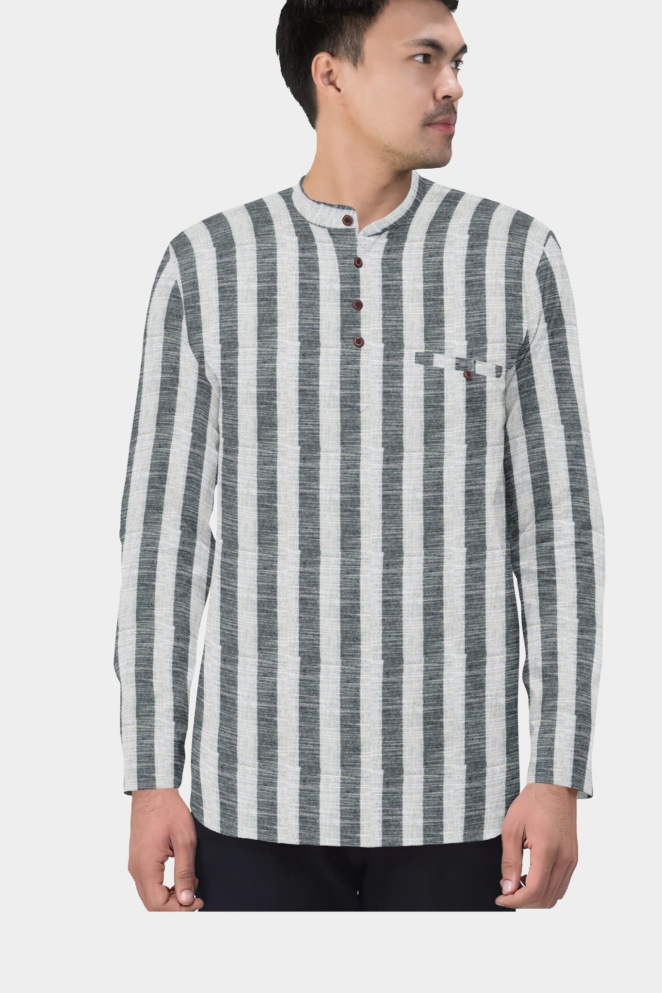 White Gray Cotton Striped Short Kurta-35451