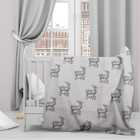 White Gray Deer Cotton Block Print Baby Quilt-33143