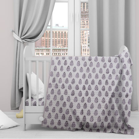 White Gray Floral Cotton Block Print Baby Quilt-33144