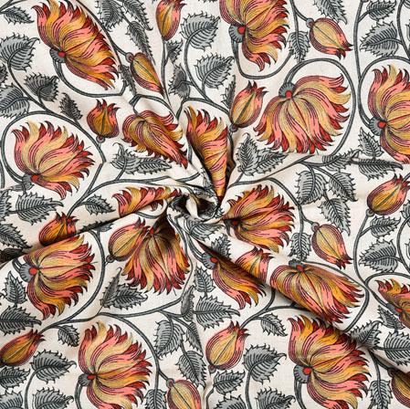 White Gray Floral Cotton Flex Fabric-28220