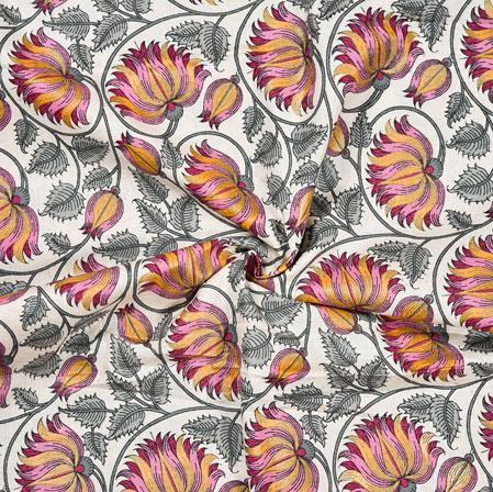 White Gray Floral Cotton Flex Fabric-28221