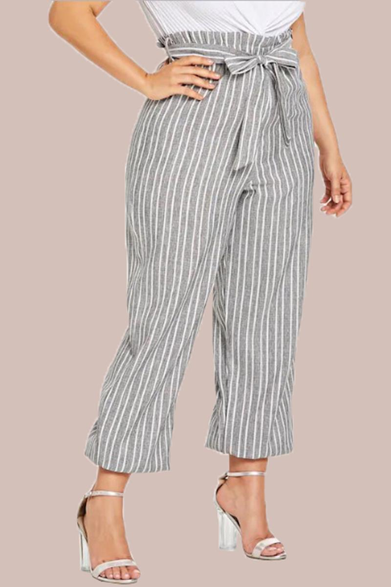 White Gray Handloom Cotton Stripe Palazzo Pant with Belt-33956