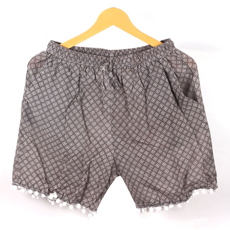 White Gray Polka Cotton Block Print Short-14646