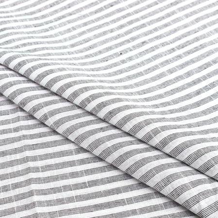 White Gray Stripe Handloom Cotton Fabric-40912