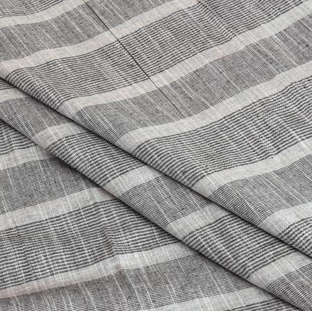 Cotton Shirt (2.25 Meter)-White Gray Stripe-40914