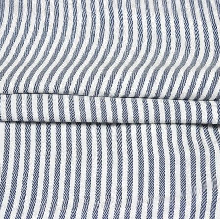 White Gray Stripe Handloom Cotton Fabric-42548