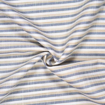 White Gray Striped Handloom Cotton Fabric-40805
