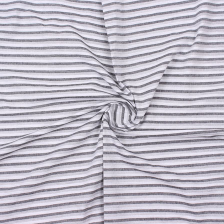 White Gray Striped Handloom Cotton Fabric-40754