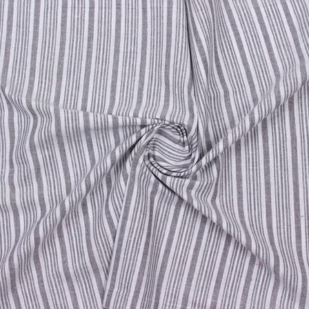 White Gray Striped Handloom Khadi Cotton Fabric-40768