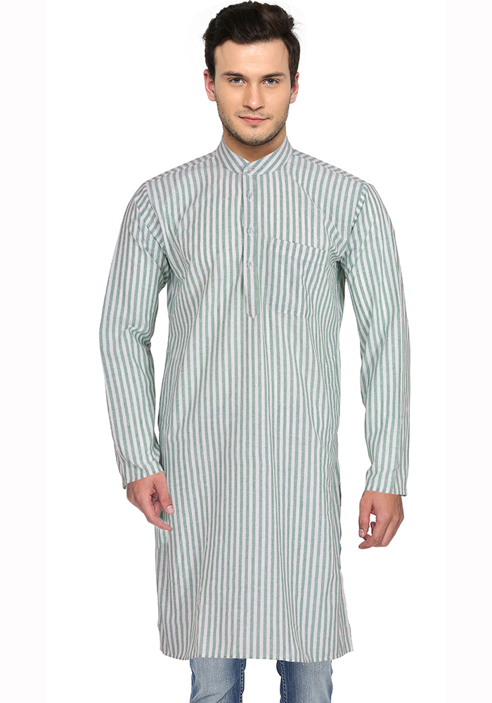 White Gray Stripes Handloom Khadi Long Kurta-33157