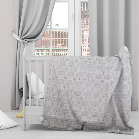 White Gray Tree Cotton Block Print Baby Quilt-33142