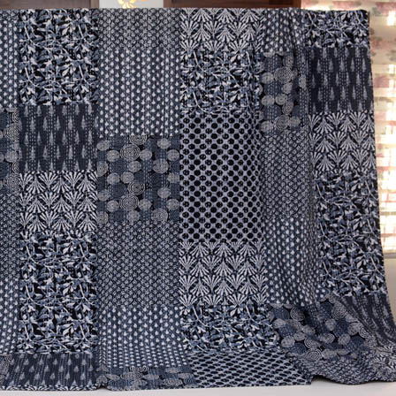 White-Gray and Black Handmade Patch Work Kantha Quilt-4330