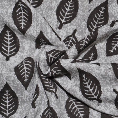 White-Gray and Black Leaf Design Rayon Fabric-15017
