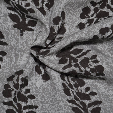 White-Gray and Black Leaf Pattern Rayon Fabric-15007