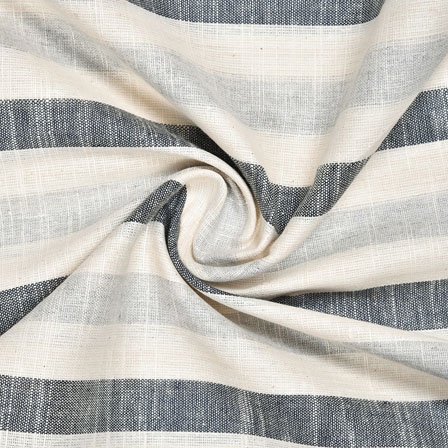 White Gray and Black Striped Handloom Cotton Fabric-40820