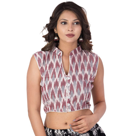White-Gray and Maroon Cut Sleeve Cotton Ikat Blouse-30206