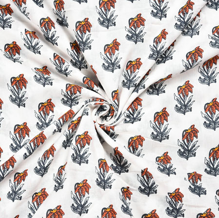 White Gray and Peach Floral Block Print Cotton Fabric-28557