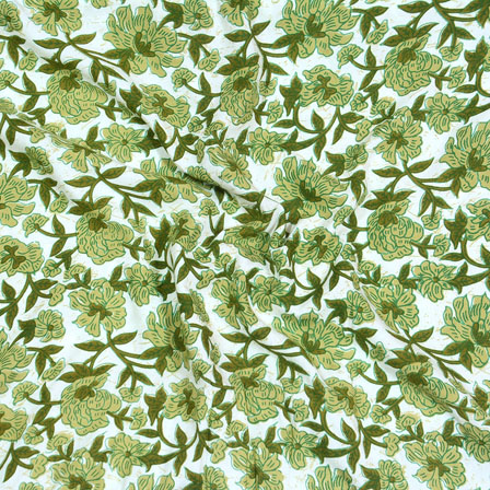 White Green Block Print Cotton Fabric-14582