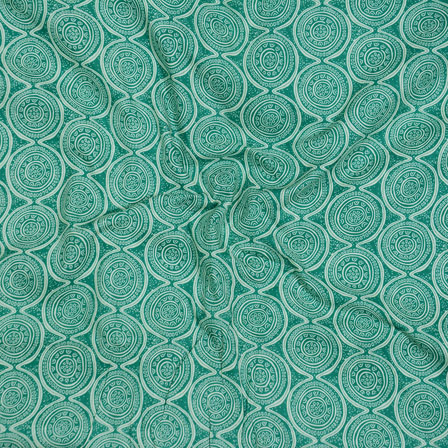 White Green Block Print Cotton Fabric-14587