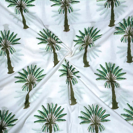 White Green Block Print Cotton Fabric-14697