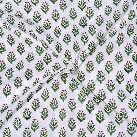 White Green Block Print Cotton Fabric-14730