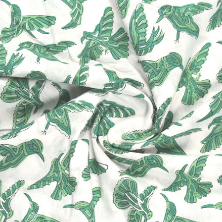 White Green Block Print Cotton Fabric-16195