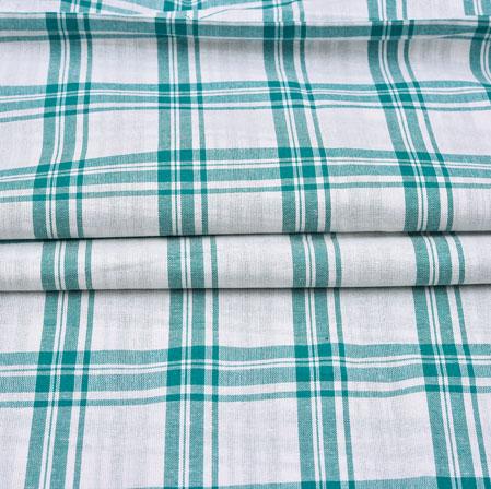 White Green Checks Cotton Handloom Fabric-42221