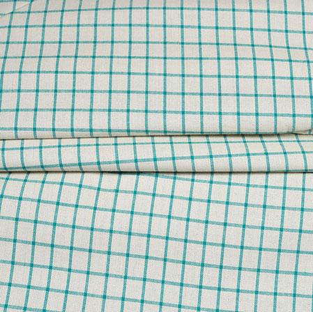 White Green Checks Handloom Cotton Fabric-42405