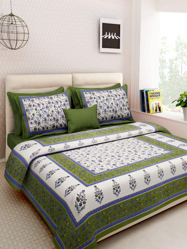 White Green Cotton Jaipuri Bedsheet-677