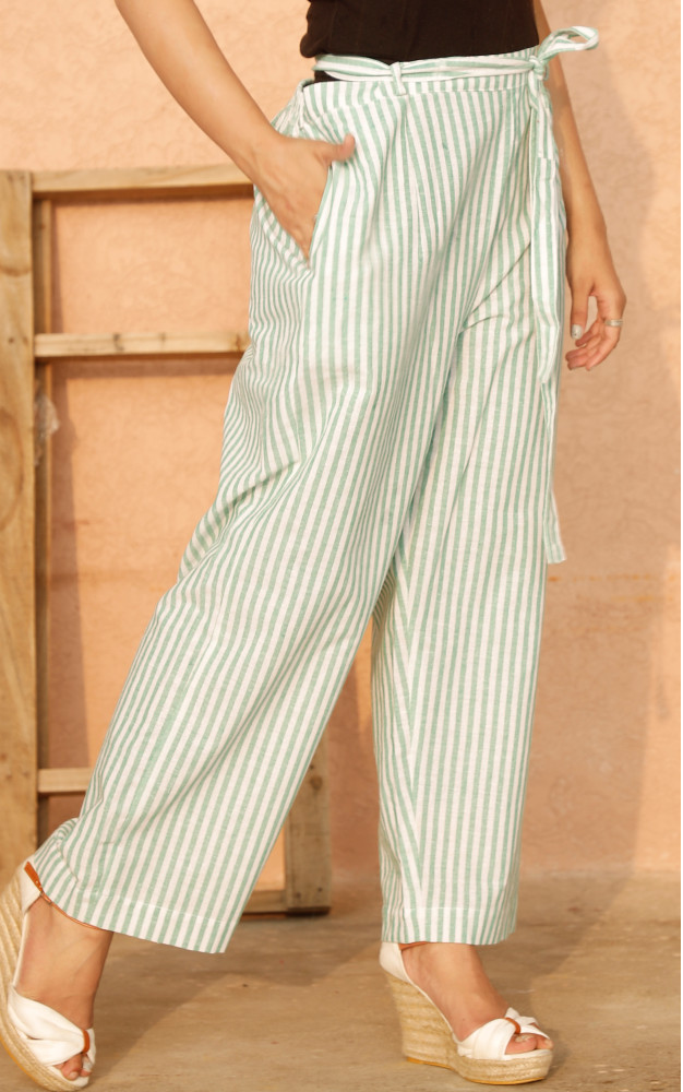 White Green Cotton Stripe Pant with Belt-33639