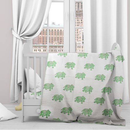 White Green Elephant Cotton Block Print Baby Quilt-33130