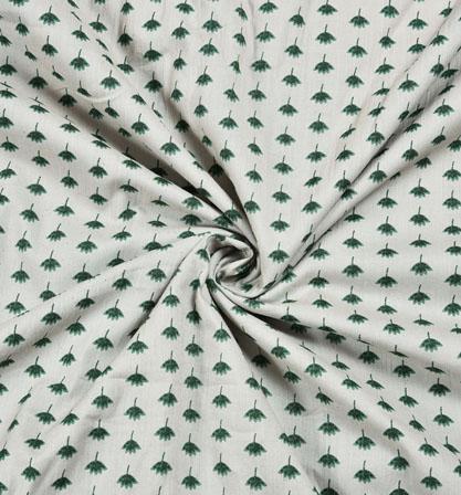 White Green Floral Block Print Cotton Fabric-28559