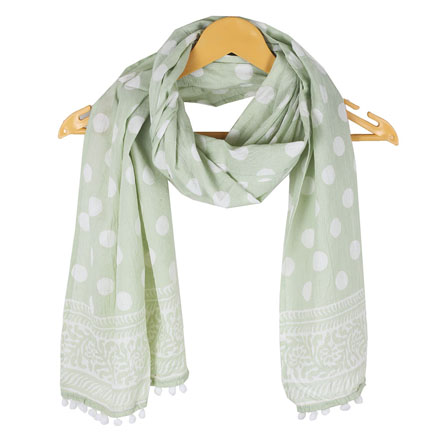 White Green Floral Cotton Block Print Dupatta With Pom Pom-33127