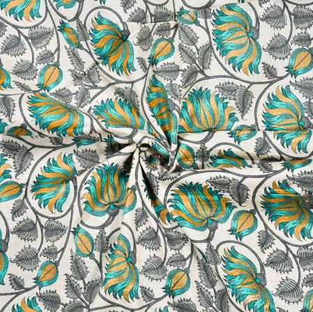 White Green Floral Cotton Flex Fabric-28222