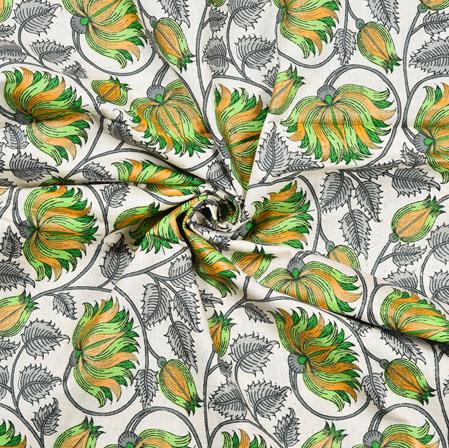 White Green Floral Cotton Flex Fabric-28223